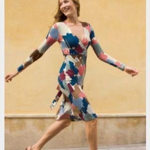 Boden size 10L wrap dress long blue red brown
